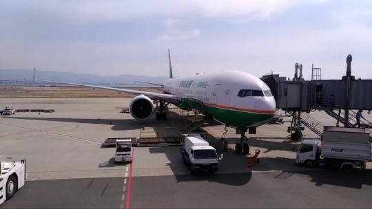 関西国際空港から見えたエバー航空の機体