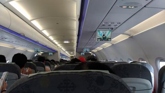 復路の機内。座席ごとの画面は無い。